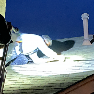 Roof Repair at Night